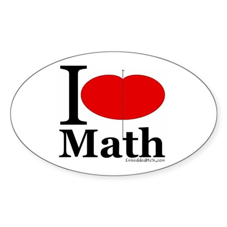 I Love Math Oval Sticker