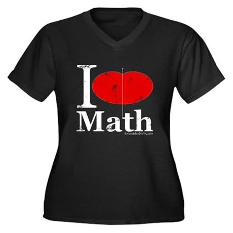 I Love Math Women's Plus Size V-Neck Dark T-Shirt