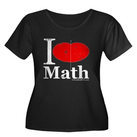 I Love Math Women's Plus Size Scoop Neck Dark T-Sh