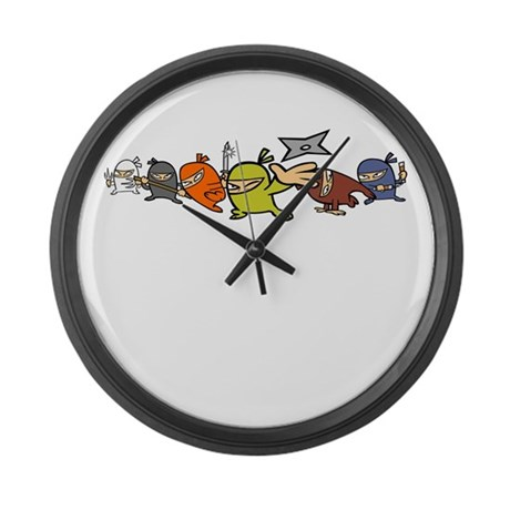 CARTOON NINJAS GROUP Large Wall Clock