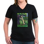 Wheatie Squirrel Chaser Women's V-Neck Dark T-Shir