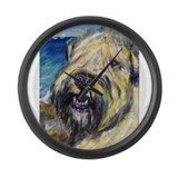 Laughing wheatie portrait Large Wall Clock