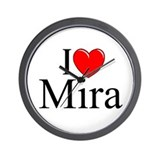 """I Love (Heart) Mira"" Wall Clock"