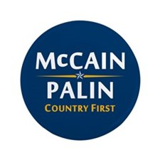 """Country First - McCain Palin 3.5"""" Button"""