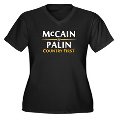 Country First - McCain Palin Women's Plus Size V-N