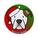 Cartoon American Bulldog Christmas Ornament
