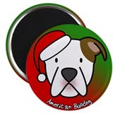 Cartoon American Bulldog Christmas Magnet