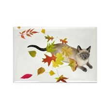 Siamese Cat Fall Leaves Rectangle Magnet