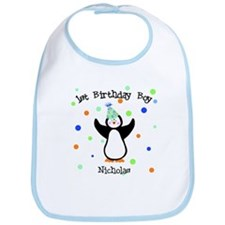 Nicholas Penguin Dots First Bday Bib