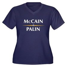 McCain Palin Shirts Women's Plus Size V-Neck Dark