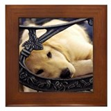 Sleeping Golden Puppy Framed Tile
