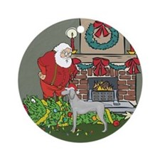 Santa's Helper Weimaraner Ornament (Round)