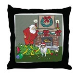 Santa's Helper Sheltie Throw Pillow