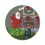 Santa's Helper Scottie Ornament (Round)
