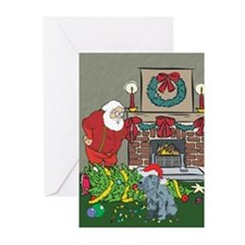 Santa's Helper Schnauzer Greeting Cards (Pk of 10)