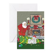 Santa's Helper Maltese Greeting Cards (Pk of 10)