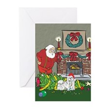 Santa's Helper Maltese Greeting Cards (Pk of 20)