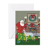 Santa's Helper Greyhound Greeting Card