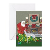 Santa's Helper Greyhound Greeting Cards (Pk of 10)