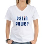 Palin Power blue font Women's V-Neck T-Shirt