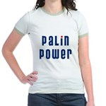 Palin Power blue font Jr. Ringer T-Shirt