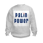 Palin Power blue font Kids Sweatshirt