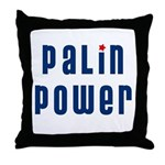 Palin Power blue font Throw Pillow