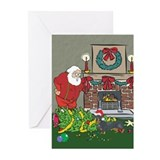 Santa's Helper Dachshund Greeting Cards (Pk of 10)
