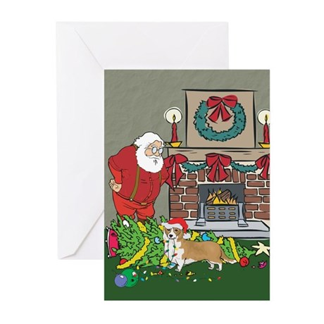 Santa's Helper Welsh Corgi Greeting Cards (Pk of 2