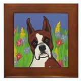 Boxer in the Flowers Framed Tile