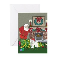 Santa's Helper Bichon Frise Greeting Card