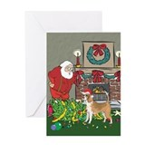 Santa's Helper Beagle Greeting Card