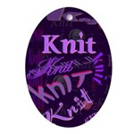 Knit Purple Oval Ornament