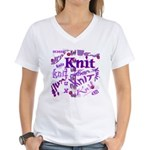 Knit Purple Women's V-Neck T-Shirt