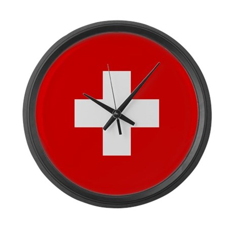 SWISS CROSS FLAG Large Wall Clock