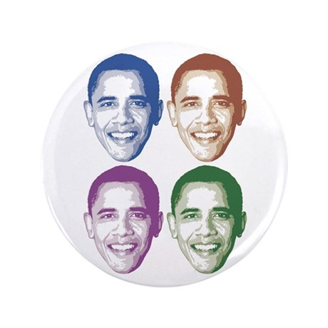 "Smiling Faces OBAMA 3.5"" Button"