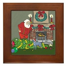 Santa's Helper Russian Blue Framed Tile