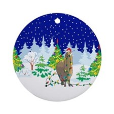 Christmas Lights Alpaca Ornament (Round)