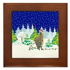 Christmas Lights Alpaca Framed Tile