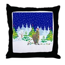 Christmas Lights Alpaca Throw Pillow
