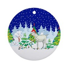 Christmas Lights Goat Ornament (Round)