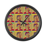 Obama Warhol style Large Wall Clock