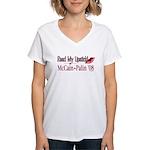 McCain Palin Read My Lipstick Women's V-Neck T-Shi