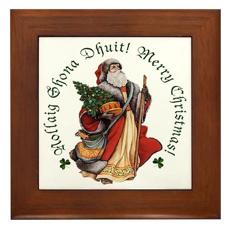 Santa (Irish & English) Framed Tile
