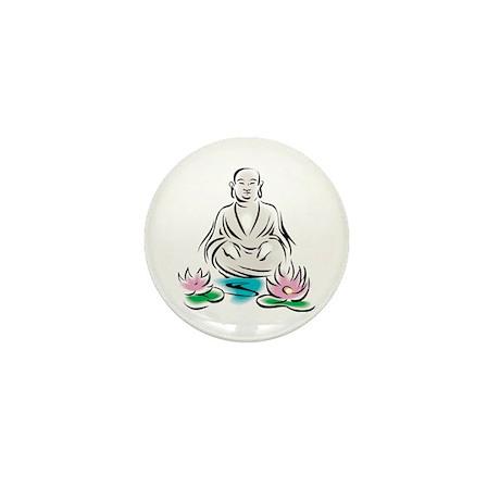 Buddha With Lotus Flowers Mini Button