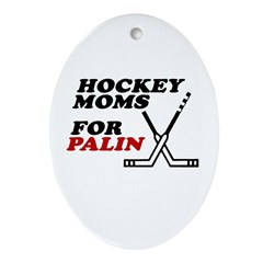 Hockey Moms for Palin Oval Ornament