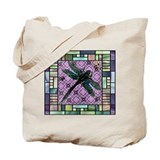 Stained Glass Dragonfly Tote Bag