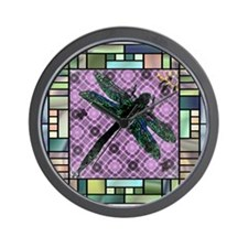Stained Glass Dragonfly Wall Clock
