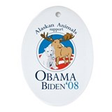 Alaskan Animals for Obama Bid Oval Ornament