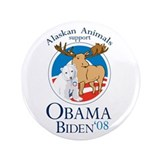 "Alaskan Animals for Obama Bid 3.5"" Button"